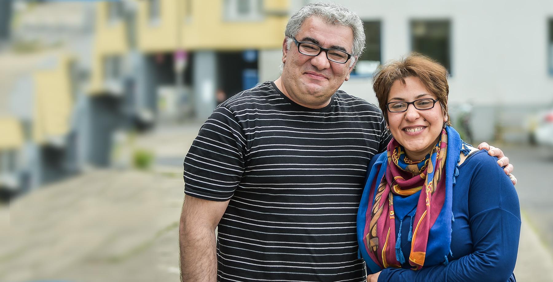 """Das Bild zeigt Mohammad K. und Deljin M., Teilnehmer am """"Entrepreneurship Training für Flüchtlinge und Asylsuchende"""" des IQ Teilprojektes Act!Now"""